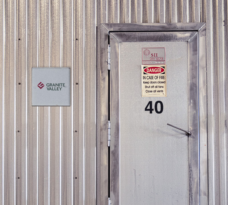 entry door to a Granite Valley kiln location marked with the number 45