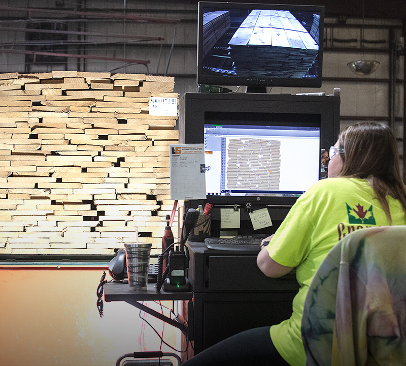 Granite Valley Forest Products employee seen from behind sitting at a computer